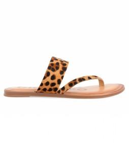 Sandalias de piel 58363-P animalprint marrón