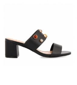 Sandalias de piel Batavia negro - Altura tacón 5cm -