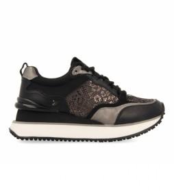 Zapatillas 64401 negro -Altura cuña de 5 cm-