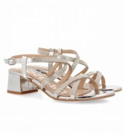 Sandalias de piel 58584-P plateado - Altura tacón 5cm -