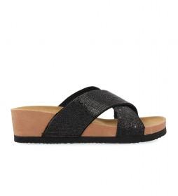 Sandalias Prades negro -altura cuña: 5cm-