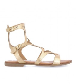 Sandalias de piel Corning dorado