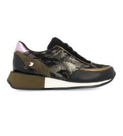 Zapatillas 60432 negro, verde -Altura cuña: 3,8cm-