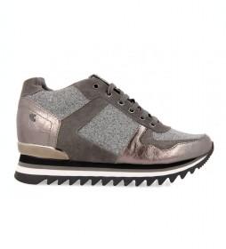 Zapatillas Alzette plomo -Altura cuña interna+suela: 6cm-