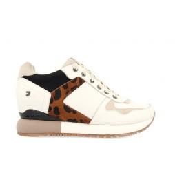 Zapatillas de piel Eeklo blanco -altura cuña+suela: 5,8cm-