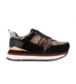 Zapatillas de piel Engels negro -altura plataforma: 4cm-