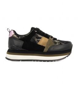 Zapatillas de piel Glazov negro, dorado, verde -Altura plataforma: 5cm-