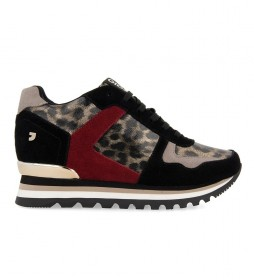 Zapatillas Halmstad animal print, negro -altura plataforma: 3cm-