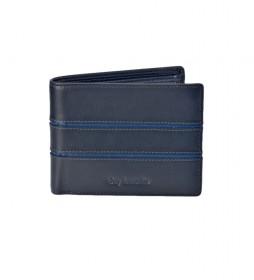 Americano de piel GL-3703 con monedero azul -11,5x9x2cm-