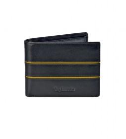 Americano de piel GL-3703 con monedero negro -11,5x9x2cm-