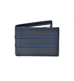 Americano de piel GL-3704 doble tarjetero azul -11x8x1,5cm-