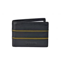 Americano de piel GL-3704 doble tarjetero negro -11x8x1,5cm-
