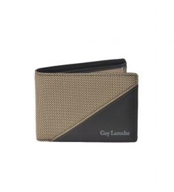 Americano de piel GL-3724  con monedero  beige -11x8x2cm-