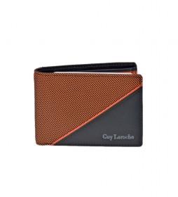 Americano de piel GL-3724  con monedero  naranja -11x8x2cm-