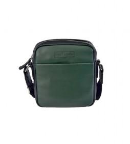 Bandolera pequeña de piel GL-60 verde -19x21x6cm-
