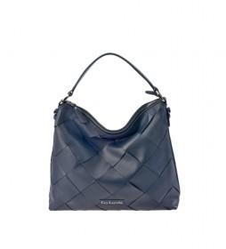 Bolso hobo de piel trenzado GL-12381 azul -35x32x12cm-