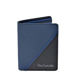 Cartera de piel GL-3722 azul -8,5x10,5x1,5cm-