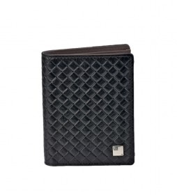 Cartera de piel trenzado GL-3711 negro -8,5x11x1cm-