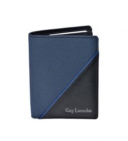 Cartera de piel GL-3720 azul -8,5x11x1cm-