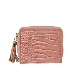 Monedero de piel GL-7494 rosa -10x8.5x2.5cm-