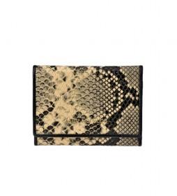 Monedero de piel grabado serpiente GL-7461 beige -11.8x8.5x1cm-