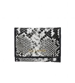 Monedero de piel grabado serpiente GL-7461 blanco -11.8x8.5x1cm-