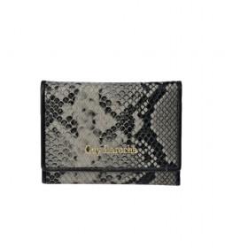 Monedero de piel grabado serpiente GL-7461 gris -11.8x8.5x1cm-