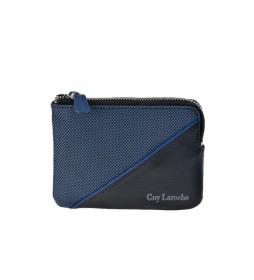 Monedero de piel GL-3727 azul -11,5x8,5x1,5cm-