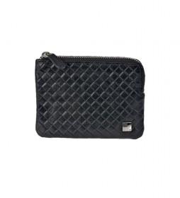 Monedero de piel trenzado GL-3717 con cremallera negro -11,5x8,5x1cm-