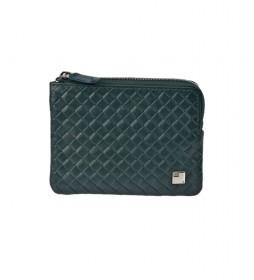Monedero de piel trenzado GL-3717 con cremallera verde -11,5x8,5x1cm-