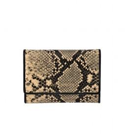 Monedero pequeño de piel grabado serpiente GL-7455 beige -13x9x2cm-