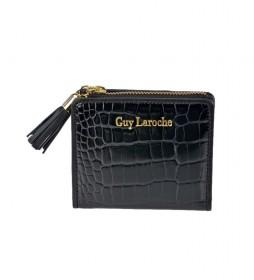 Monedero tarjetero de piel GL7507 negro -10,5x9x2cm-