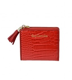 Monedero tarjetero de piel GL7507 rojo -10,5x9x2cm-