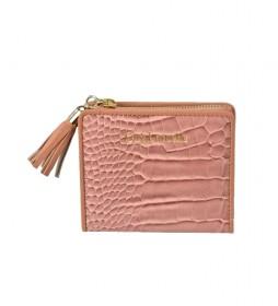 Monedero tarjetero de piel GL7507 rosa -10,5x9x2cm-