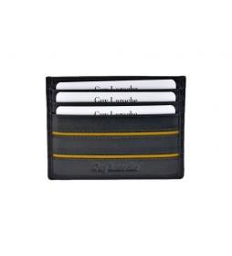 Tarjetero de piel GL-3706  negro -9,5x7x2cm-