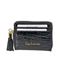 Tarjetero monedero de piel GL-7509 negro -8x10x2cm-