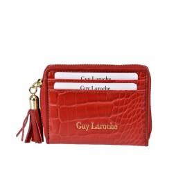 Tarjetero monedero de piel GL-7509 rojo -8x10x2cm-