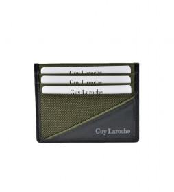 Tarjetero plano de piel GL-3726 verde -9.5x7.5xcm-