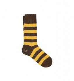 Calcetines rayas Rugby amarillo, marrón