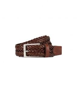 Cinturón de piel 2Tone Cord Inset marrón