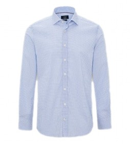 Camisa Stretch Micro Print azul claro