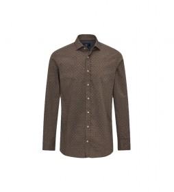 Camisa Twill Geo Print marrón