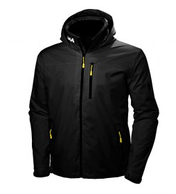 Helly Hansen Black Crew Hooded Jacket -Helly Tech® Protection-