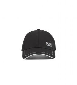 Gorra de Béisbol en Sarga de Algodón con Logo Bordado negro