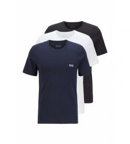Pack de 3 Camiseta Regular Fit de Algodón marino, blanco, gris