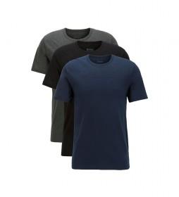 Pack de 3 Camiseta Regular Fit de Algodón  azul, marino, gris