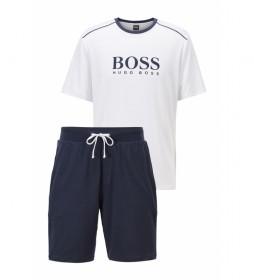 Pijama con Ribete en Contraste y Logo blanco, marino