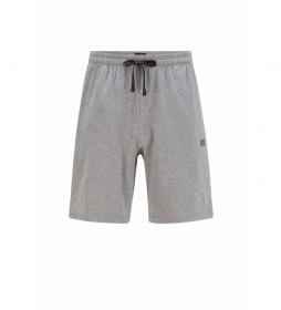 Shorts Homewear de Algodón Elástico con Logo Bordado gris