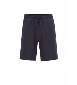 Shorts Homewear de Algodón Elástico con Logo Bordado marino