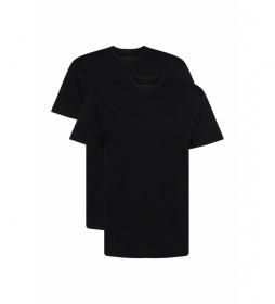 Pack de 2 Camisetas Interiores de Algodón Cuello Redondo negro